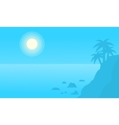 Silhouette of cliff on beach vector