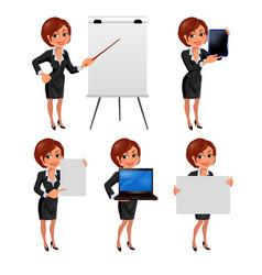 Cartoon business woman presentation set2 vector