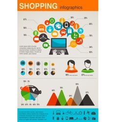 Shopping infographics set retro style design vector