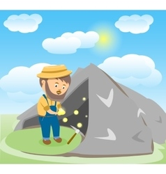 Image of an Happy Cartoon Gold Digger vector image