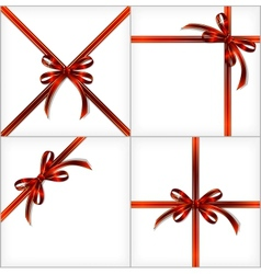 Red gift ribbon set backgrounds eps10 vector