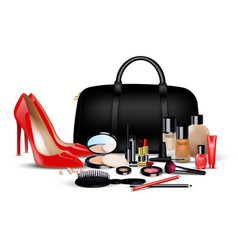 Set of cosmetics on isolated background vector