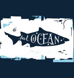 Hand drawn lettering - feel the ocean vector