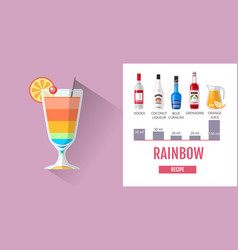 flat style rainbow cocktail menu design vector image