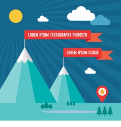 Snow mountains with red flags in flat design style vector