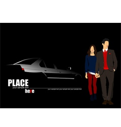 al 1018 car and couple vector image