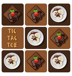 Tic-tac-toe of ice cream and brownie vector