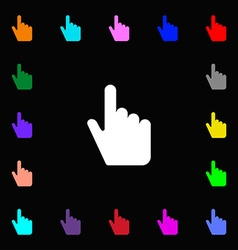 Cursor icon sign lots of colorful symbols for your vector