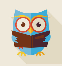 Flat knowledge and education owl reading book with vector