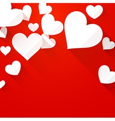 Valentines background with white hearts vector image