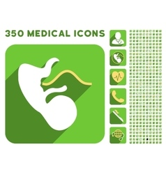 Embryo cord icon and medical longshadow icon set vector