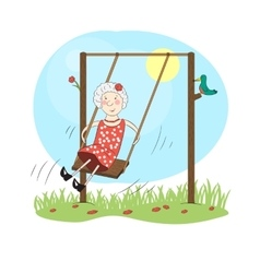 Happy woman on a swing vector