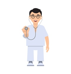 Character doctor with a stethoscope vector