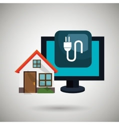 Smart home with energy plug isolated icon design vector