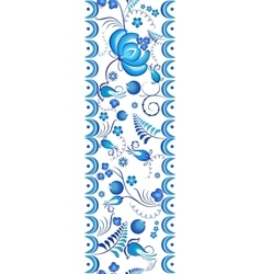 Seamless floral pattern gzhel with blue ornamental vector