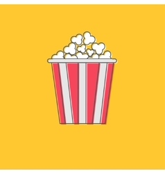 Popcorn icon cinema movie line icon in flat vector