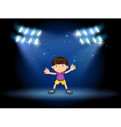 A stage with a young dancer vector