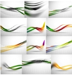 Abstract background set blurred wave templates vector image