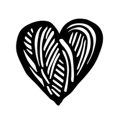 Artistic symbol of a heart black and white heart l vector