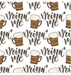 Beer mugs seamless pattern october fest vector