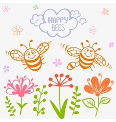 bees two vector image