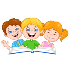 Cartoon kids reading book vector image vector image
