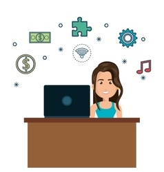 Cartoon woman on desk and laptop media graphic vector