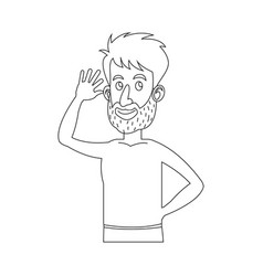 Character bearded man without shirt outline vector