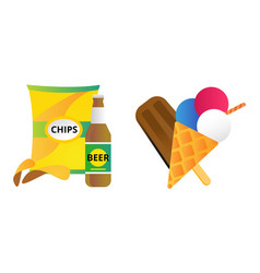 Chocolate vanilla ice cream and chips vector