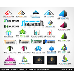 collection of creative real estate logo design vector image