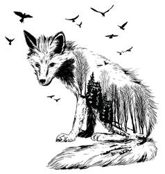 Double exposure fox vector image