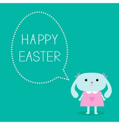 Easter bunny girl and dash line egg bubble vector image vector image