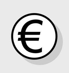 Euro sign flat black icon in white circle vector