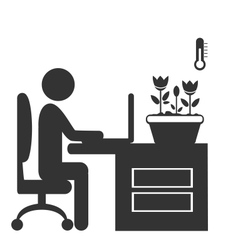 Flat office spring icon isolated on white vector image vector image