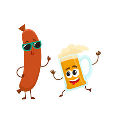 Funny beer glass and frankfurter sausage vector