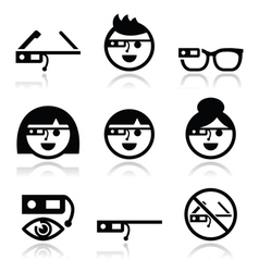 Google glass icons set vector