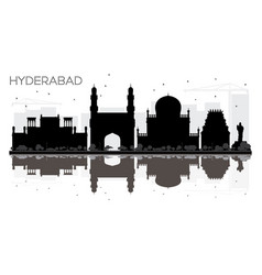 Hyderabad city skyline black and white silhouette vector