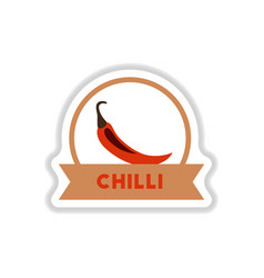 label icon on design sticker collection chilli vector image