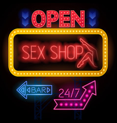 luminous sexshop signs set vector image vector image