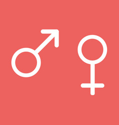 male and female signs isolated on red background vector image