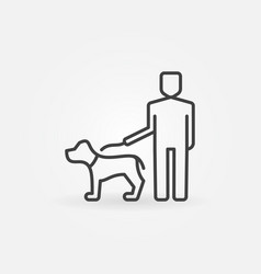Man holding a dog on a leash vector