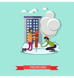 Men launching firework in vector