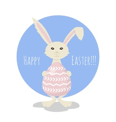 or greeting card with Cute White Easter Bunny vector image