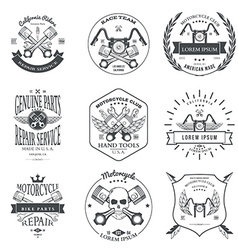 Race Bikers Garage Repair Service Emblems and vector image vector image