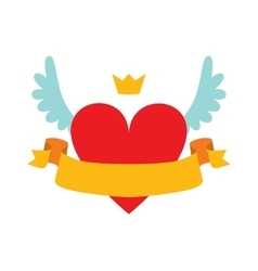 Red heart abstract with crown wings and yellow vector