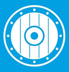 Round army shield icon white vector