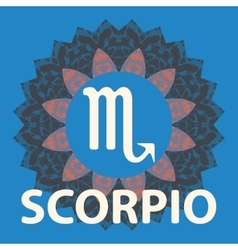 Scorpio Scorpion Zodiac icon with mandala print vector image