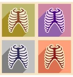 Set flat icons with long shadow human rib vector