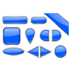 set of blue glass buttons with metal frame vector image vector image