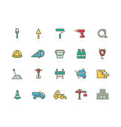 set of construction and repair colored line vector image